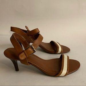Ralph Lauren brown leather heels sandals size 8.5